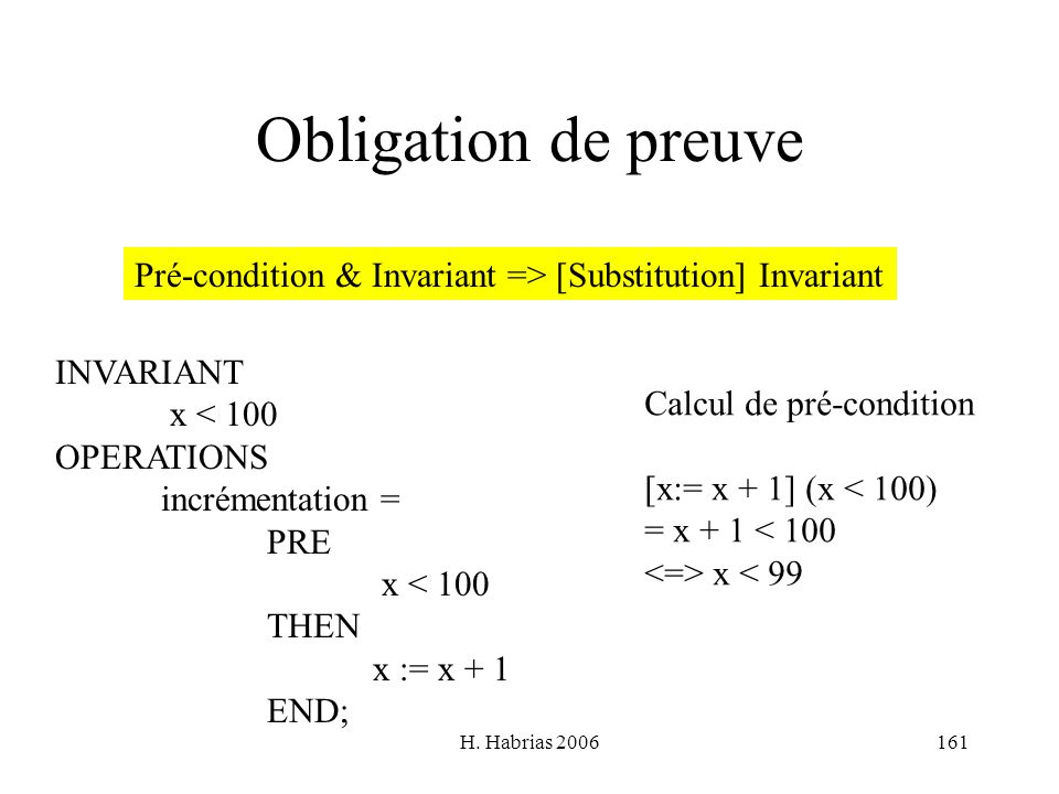 Obligation de preuve Pré-condition & Invariant => [Substitution] Invariant. INVARIANT. x < 100. OPERATIONS.